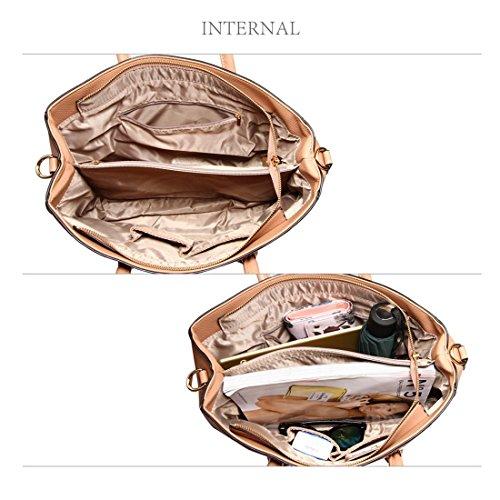 LeahWard Faux Leder Handtaschen für Frauen Designer-Einkaufstasche Schultertaschen für ihre Schulferien 00515 (Burgund Tragetasche) Nude Tragetasche Er9ijD0iqi