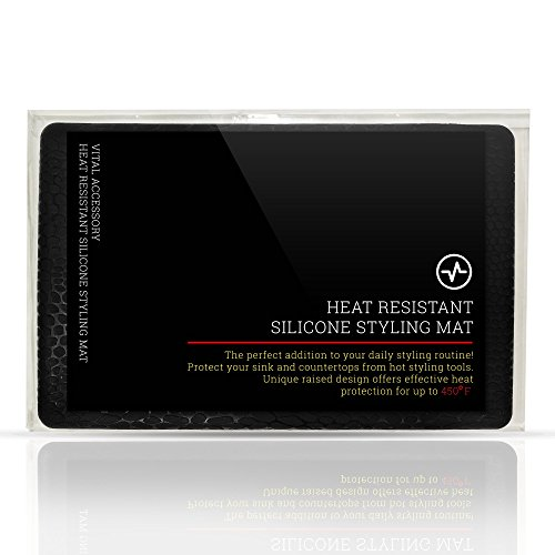 Elevated Heat Resistant Silicone Styling Mat for curling irons, flat irons, straightening brushes, and other heated hair styling tools