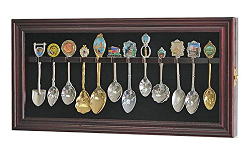 Spoon Rack Display Case Wall Shadow Box to hold 12 Souvenir spoons (Mahogany Finish)