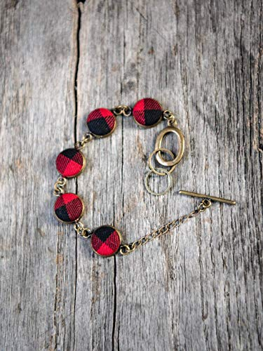 - Gold Tone red and black Buffalo Plaid adjustable toggle link bracelet