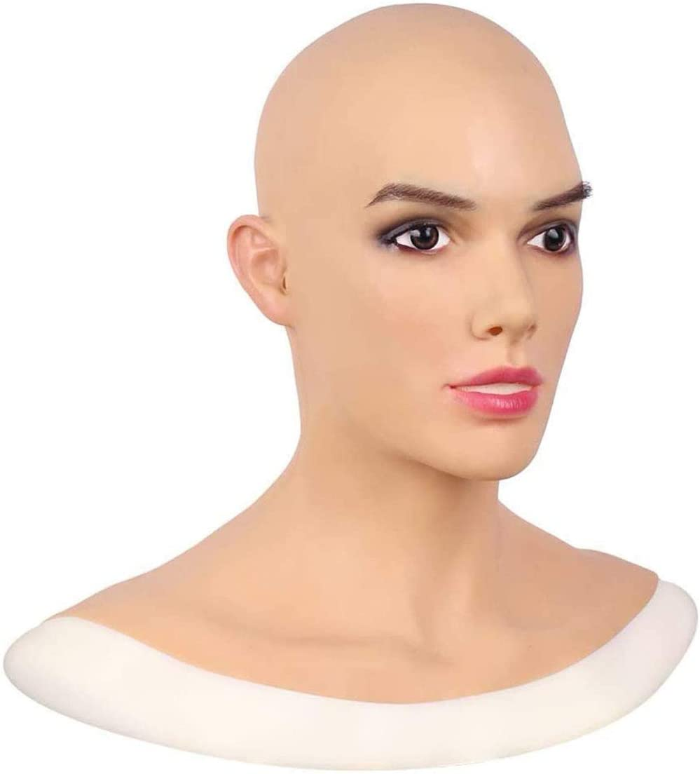 QQA Realistic Silicone Female Head Mask Hand-Made Face Male to Female for Crossdresser Transgender Halloween Costumes