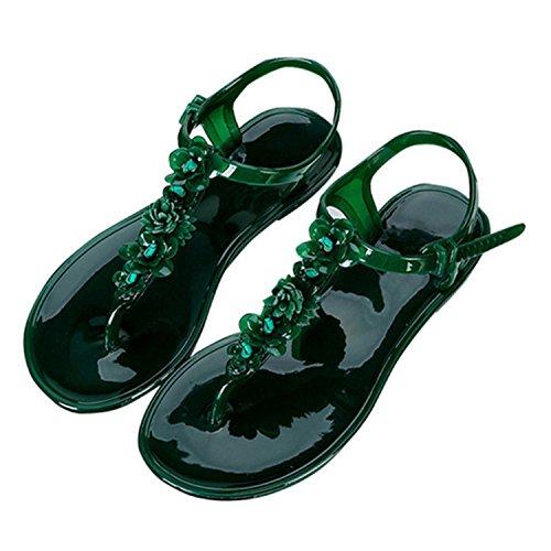 Women Sandals Flip Flops for Female Buckle Strap Jelly Shoes Flower Beach Woman Flat Sandal New Fashion Ladies Footwear Green 8.5 (Opus Strap)