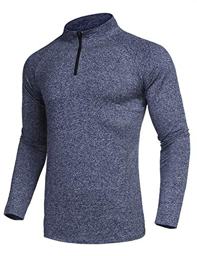 COOFANDY Men 1/4 Zip Pullover Active Sporty Cycling Running Quick Dry Top Shirts