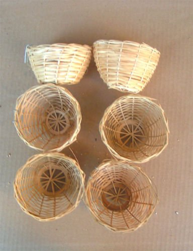 Finch Bird Bamboo Opened Bird Nest Lot of 6--Medium by Mcage