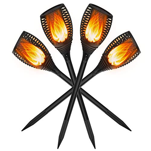 [20% Higher Solar Conversion] Solar Torch Lights with Flickering Flame, OxyLED Waterproof Garden Decorations Light for Halloween Christmas, Auto On/Off Torch Light for Patio Driveway (4 Pack) -