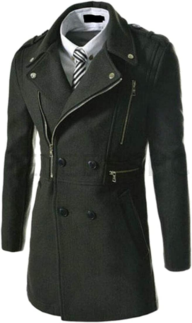 M/&S/&W Men Fashion Trench Coat Long Wool Blend Slim Fit Jacket Winter Double Breasted Overcoat