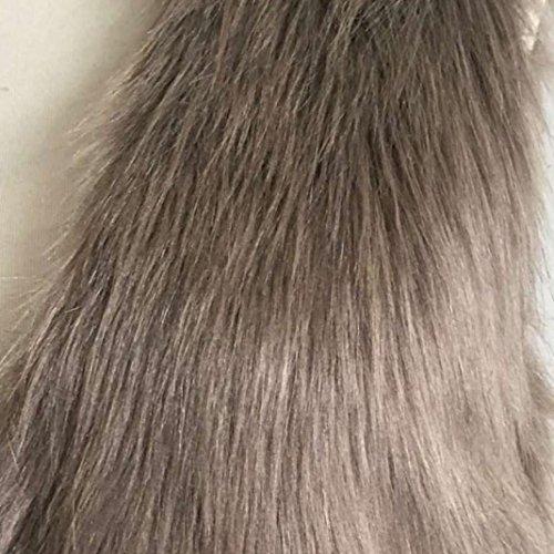 Soft Waistcoat Faux Women Sleeveless Ladies Brown Hair Gilet Long Jacket Vest Shrug Coat Outwear Fur xUUwr1nY