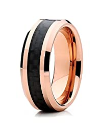Silly Kings 6mm Rose Gold Tungsten Carbide Wedding Ring Hammered Design Brushed Finish Unisex Comfort Fit Band