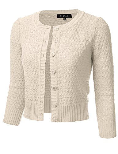 FLORIA Womens Button Down 3/4 Sleeve Crew Neck Cotton Knit Cropped Cardigan Sweater Oatmeal M (Sleeve 3/4 Collarless)