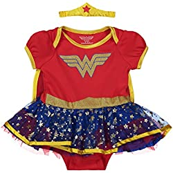 Wonder Woman Newborn Infant Baby Girls' Costume Bodysuit Dress with Gold Tiara Headband and Cape, Red (6-9 Months)