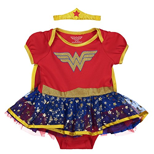 Warner Bros. Wonder Woman Newborn Infant Baby Girls' Costume Bodysuit Dress with Gold Tiara Headband and Cape  Red (3-6 Months) -