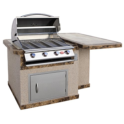 Cal Flame Outdoor Kitchen Island with Bar Top LBK-402-A with 4-Burner Built in Grill, 27″ Stainless steel door, two tone tile and Ameristucco base For Sale