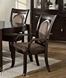 Set of 2 Dining Arm Chairs Dark Brown Finish