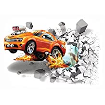 3D Wall Decor Stickers For Kids Room - Birthday and Theme Party Supplies Wall Decals (Race Car)