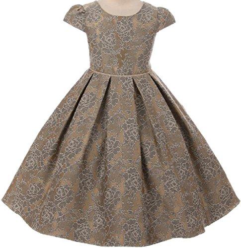 Cap Sleeve Elegant Chantilly Jacquard Little Girl Flower Girls Dresseses (37K8D) Champagne - Chantilly Mall