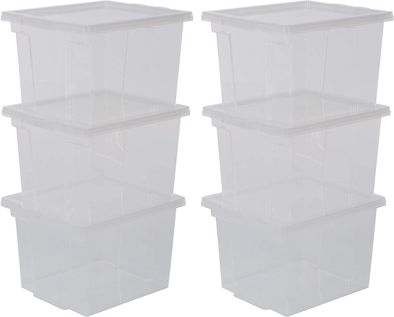 Iris Ohyama, lote de 6 cajas de almacenamiento con tapa - Useful Storage Box - USB-S, transparente, 13 L, 29 x 24 x 18,5 cm