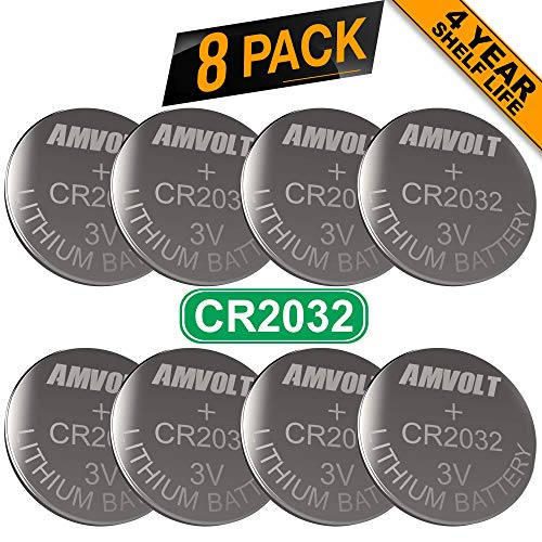 - 8 Pack AmVolt CR2032 Battery [Ultra Power] 20MM - Best 3 Volt Lithium Watch Batteries - 600mAh - 3V CMOS Coin Button Cell - Fob Car Remote Key CR 2032 [Expires 2023]