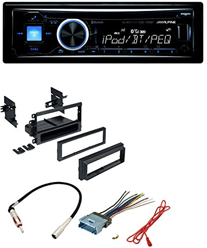 Car Radio Stereo Dash Kit Harness Antenna for GM GMC Chevy Cadillac Pontiac With Alpine CD MP3 Car Stereo Front USB & AUX Inputs Bluetooth Built-In CDE-143BT (Car Speakers Alpine Midrange)