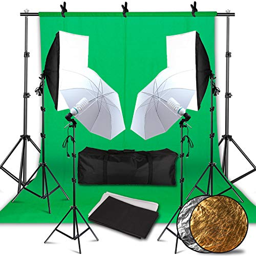 Photographic Softbox Reflective Umbrella 5500k Daylight Lasting Lighting 8.5ft x 10ft Background Support Kit, Foldable with Carrying Case, Suitable for Professional Photography Studio