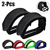 Fansport Foot Pedal Straps, Black Bike Pedal Straps Bmx Strapping Clips Belt Set with Anti-Slip Double Adhesive Straps for Fixed Gear Bike Beginner (1 Pair)
