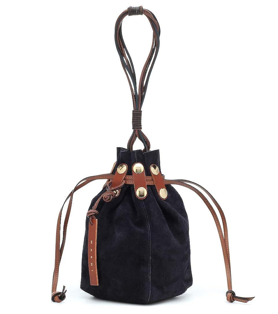 [(マルニ) MARNI] [レディース バッグ レザー バケツ Suede bucket bag] (並行輸入品) B07Q98T5H5 ブラック