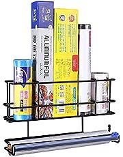 RCHYFEED Kryddförvaring organisering kylskåpshylla, multifunktion kök kryddhylla väggmonterad, rostfria hyllor för köksväggdörr, kylskåpshylla förvaringshängare, svart
