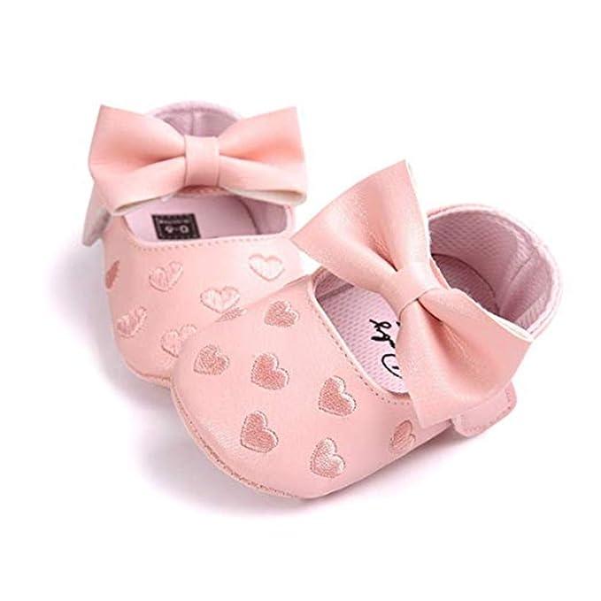 Zapatos de Bebe Color sólido Primeros Pasos, Morbuy Zapatos de princesa de amor Niño y Niña Recién Nacido Cuna Suela Blanda Antideslizante Zapatillas (12cm ...
