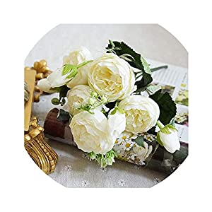 yunzhongke Artificial Flowers for Decoration Rose Peony Silk Small Bouquet Party Spring Wedding Decoration Fake Flower,F 38