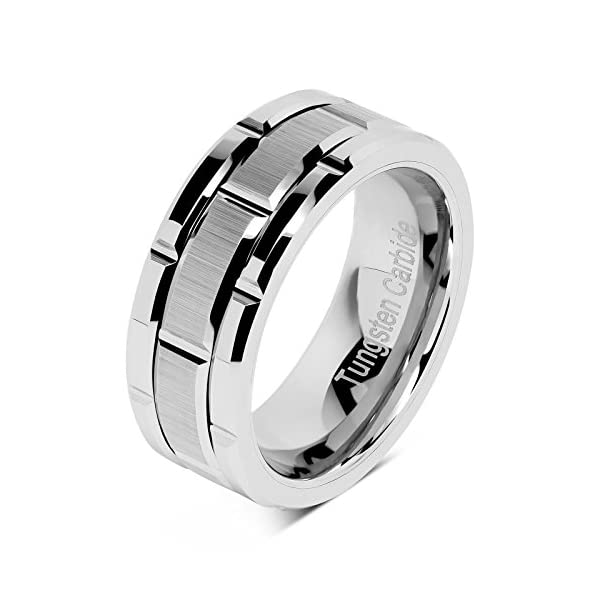 100S JEWELRY Tungsten Rings for Men Wedding Band Silver Brick Pattern Brushed Engagement Promise Size 8-16 - 51wDAuhQZCL - 100S JEWELRY Tungsten Rings for Men Wedding Band Silver Brick Pattern Brushed Engagement Promise Size 8-16