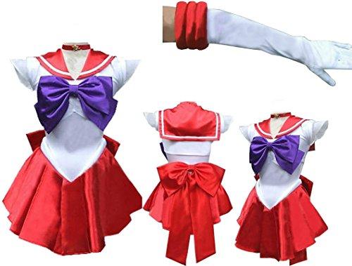 Sailor Moon Sailormoon Raye Mars short cosplay costume + glove + Tiara
