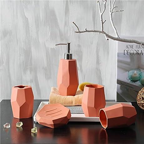 Simple Ceramic Sanitary Ware PCs Wash Kit Orange Red