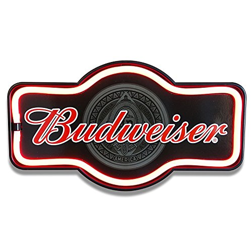 Budweiser Beer - Reproduction Vintage Advertising Marquee Sign - Battery Powered LED Neon Style Light - 17 x 10 x 3 - Neon Authentic Sign