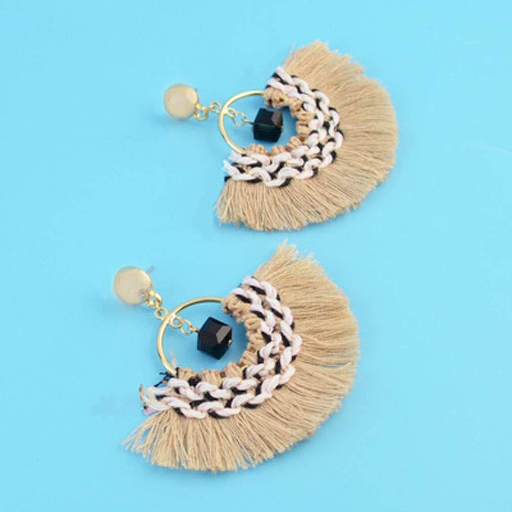 Jinxian Fashion Fan-Shaped Tassels Obsidian Earrings Pop Eardrop