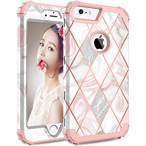 ZHK iPhone 6s Plus Case, iPhone 6 Plus Case Marble 3 Layer Heavy Duty Shockproof Cute Girls Woman Anti-Scratch Protective Case Cover for Apple iPhone 6 Plus 6s Plus 5.5 inch -Rose Gold Marble