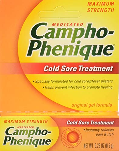 Campho-Phenique Cold Sore Treatment, Maximum Strength, Original Gel Formula, 0.23 Fl Oz (Best Treatment For Cold Sores On Lips)