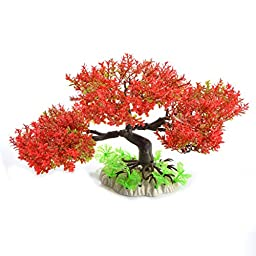 Saim Artificial Tree Plastic Plant Decor for Aquarium Fish Tank Bonsai Ornament Red Green 7\