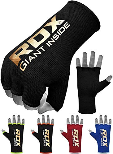 RDX Boxing Hand Wraps Inner Gloves for Punching – Half Finger Elasticated Bandages Under Mitts Fist Protection – Great…