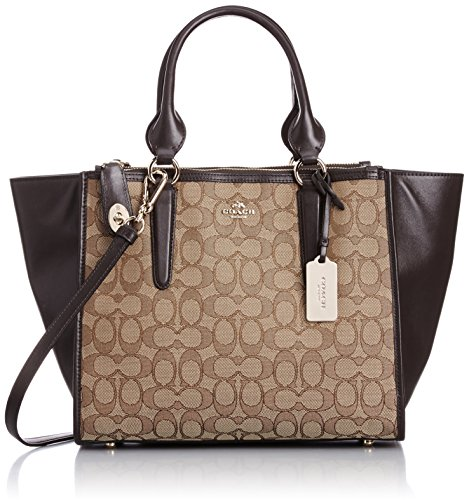 COACH Women's Signature Crosby Carryall Light/Khaki/Brown Tote