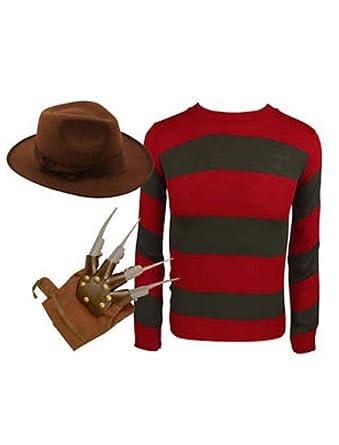 38772b0c612 Mens Freddy Red   Green Stripe Knitted Jumper Hat Glove Fancy Dress Costume  (Large