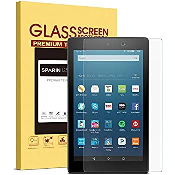 2017 All-New Fire HD 8 / Fire HD 8 Kids Edition Screen Protector, SPARIN [Tempered Glass] [HD Clear] Screen Protector for Fire HD 8 (2017/2016/2015 Release) & Fire HD 8 Kids Edition Tablet