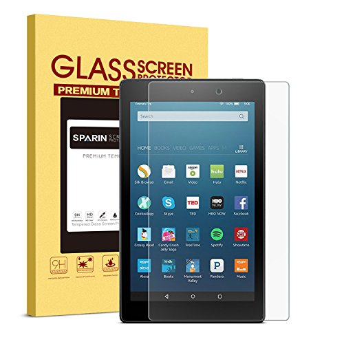2017 All-New Fire HD 8 Screen Protector, SPARIN Tempered Glass Screen Protector for Fire HD 8 Tablet (2017 & 2016 & 2015 Release) with [9H Hardness] [Bubble-Free] - 8 In Tablet Screen Protector