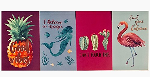 Gold Foil Embellished Tropical Set of 4 Small 5x7 Pocket Notepads: Pineapple-Mermaid-Cactus-Flamingo