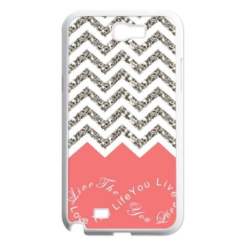 Live the Life You Love, Love the Life You Live Chevron Pattern Samsung Galaxy Note 2 N7100 Waterproof Designer Hard Case Cover - Coral (Feathers Form And Function)