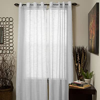 "Lavish Home Mia Jacquard Grommet Single Curtain Panel, 84-Inch, White - Package Includes: 1 Panel (image shows two panels for decorating purposes) Curtain Style: Mia, Color: White, Dimensions: 54"" W X 84"" H (1 Panel) Construction: Grommet, Jacquard - living-room-soft-furnishings, living-room, draperies-curtains-shades - 51wDBsswkVL. SS400  -"