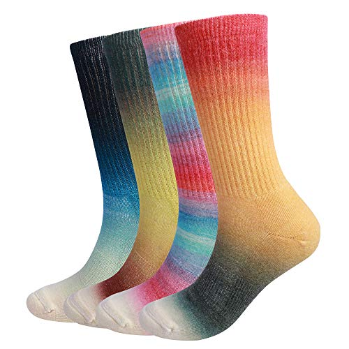 - EnerWear 4 Pack Women's Merino Wool Outdoor Hiking Trail Crew Sock (US 9-11, Gradient Mix Color)