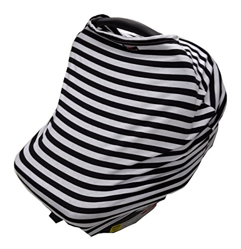 Stretchable Infinity Nursing Scarf for private breastfeeding, cover for car seat, shopping cart, and high chair - fashion accessory. Stripe pattern - CHOOSE 1 OF 4 COLORS (Black) from Aya Emporium
