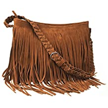 Ayliss® Hippie Suede Fringe Tassel Messenger Bag Women Hobo Shoulder Bags Crossbody Handbag 4Colors