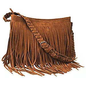 Ayliss Hippie Suede Fringe Tassel Messenger Bag Women Hobo Shoulder Bags Crossbody Handbag