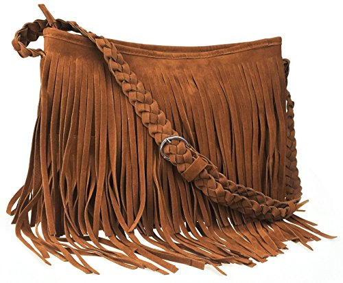 (Ayliss Hippie Suede Fringe Tassel Messenger Bag Women Hobo Shoulder Bags Crossbody Handbag,Brown)