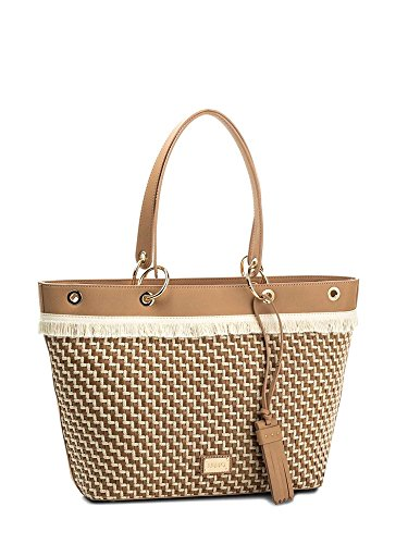 BORSA DONNA LIU-JO SHOPPING TOTE BAG MOD VIRGINIA L COL. NERO/LINO BS18LJ72 Marrone